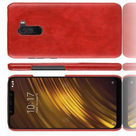 Пластиковый Жесткий Клип Кейс Футляр Искусственно Кожаный Чехол для Xiaomi Pocophone F1 Красный