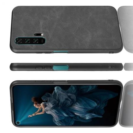 Пластиковый Жесткий Клип Кейс Футляр Искусственно Кожаный Чехол для Huawei Honor 20 Pro Черный