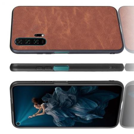 Пластиковый Жесткий Клип Кейс Футляр Искусственно Кожаный Чехол для Huawei Honor 20 Pro Коричневый
