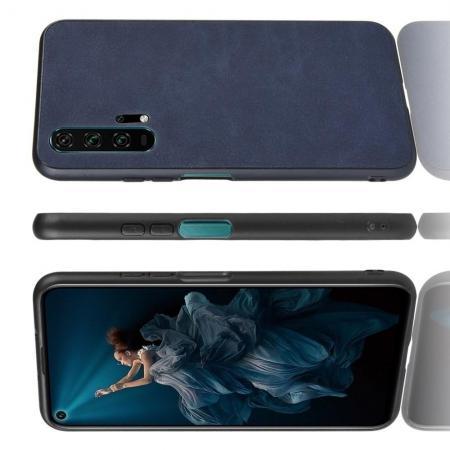 Пластиковый Жесткий Клип Кейс Футляр Искусственно Кожаный Чехол для Huawei Honor 20 Pro Синий