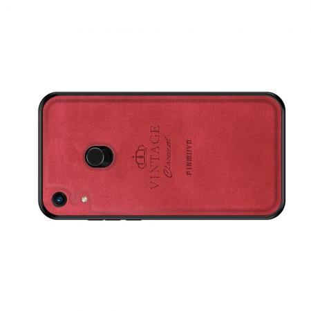 Пластиковый Жесткий Клип Кейс Футляр Искусственно Кожаный Чехол для Huawei Honor 8A Pro Красный