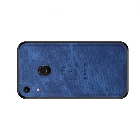 Пластиковый Жесткий Клип Кейс Футляр Искусственно Кожаный Чехол для Huawei Honor 8A Pro Синий