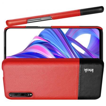 Пластиковый Жесткий Клип Кейс Футляр Искусственно Кожаный Чехол для Huawei Honor 9X Pro / Honor 9X Красный / Черный