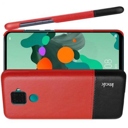 Пластиковый Жесткий Клип Кейс Футляр Искусственно Кожаный Чехол для Huawei Mate 30 Lite Красный / Черный