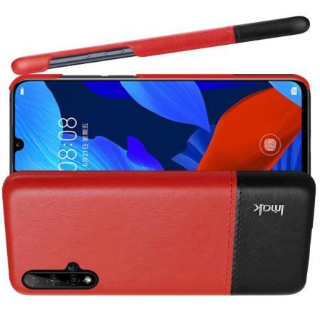 Пластиковый Жесткий Клип Кейс Футляр Искусственно Кожаный Чехол для Huawei Nova 5 Красный / Черный