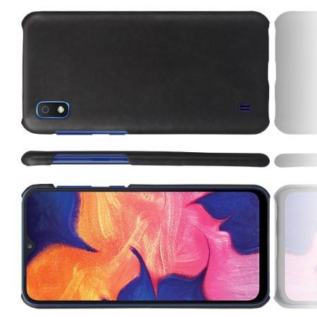 Пластиковый Жесткий Клип Кейс Футляр Искусственно Кожаный Чехол для Samsung Galaxy A10 Черный