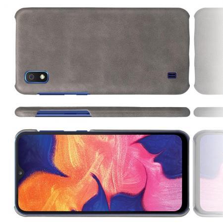 Пластиковый Жесткий Клип Кейс Футляр Искусственно Кожаный Чехол для Samsung Galaxy A10 Серый