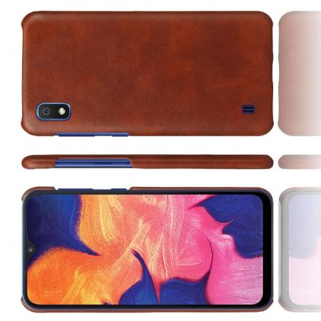 Пластиковый Жесткий Клип Кейс Футляр Искусственно Кожаный Чехол для Samsung Galaxy A10 Коричневый