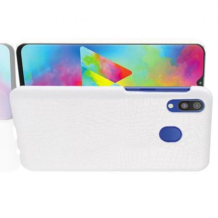 Пластиковый Жесткий Клип Кейс Футляр Искусственно Кожаный Чехол для Samsung Galaxy A20e Белый