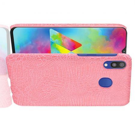 Пластиковый Жесткий Клип Кейс Футляр Искусственно Кожаный Чехол для Samsung Galaxy A20e Розовый