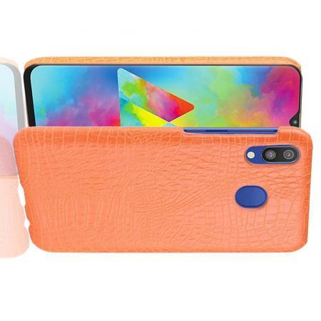Пластиковый Жесткий Клип Кейс Футляр Искусственно Кожаный Чехол для Samsung Galaxy A20e Оранжевый