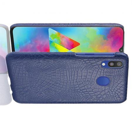 Пластиковый Жесткий Клип Кейс Футляр Искусственно Кожаный Чехол для Samsung Galaxy A20e Синий
