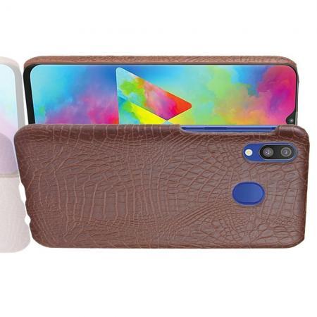 Пластиковый Жесткий Клип Кейс Футляр Искусственно Кожаный Чехол для Samsung Galaxy A20e Коричневый