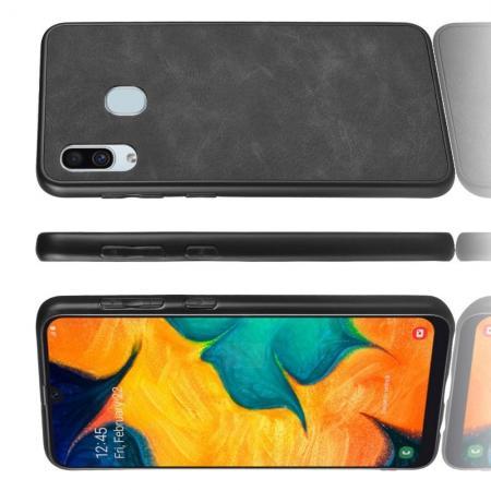 Пластиковый Жесткий Клип Кейс Футляр Искусственно Кожаный Чехол для Samsung Galaxy A40 Черный