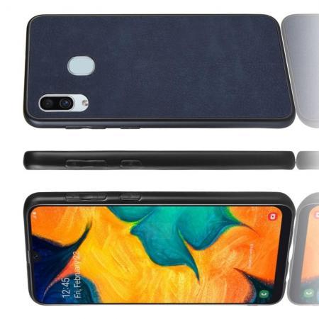 Пластиковый Жесткий Клип Кейс Футляр Искусственно Кожаный Чехол для Samsung Galaxy A40 Синий