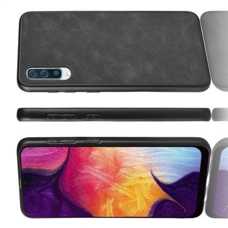 Пластиковый Жесткий Клип Кейс Футляр Искусственно Кожаный Чехол для Samsung Galaxy A70 Черный