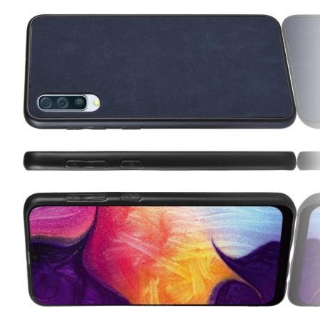 Пластиковый Жесткий Клип Кейс Футляр Искусственно Кожаный Чехол для Samsung Galaxy A70 Синий