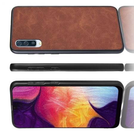 Пластиковый Жесткий Клип Кейс Футляр Искусственно Кожаный Чехол для Samsung Galaxy A70 Коричневый
