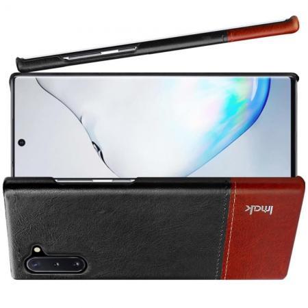 Пластиковый Жесткий Клип Кейс Футляр Искусственно Кожаный Чехол для Samsung Galaxy Note 10 Черный