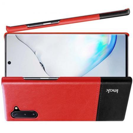 Пластиковый Жесткий Клип Кейс Футляр Искусственно Кожаный Чехол для Samsung Galaxy Note 10 Красный / Черный