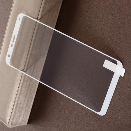 Полноэкранное Закаленное Олеофобное DF Full Screen Защитное Стекло Белое для LG Q Stylus+