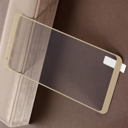 Полноэкранное Закаленное Олеофобное DF Full Screen Защитное Стекло Золотое для LG Q Stylus+