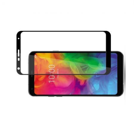Полноэкранное Закаленное Олеофобное DF Full Screen Защитное Стекло Черное для LG Q7 / Q7+ / Q7a