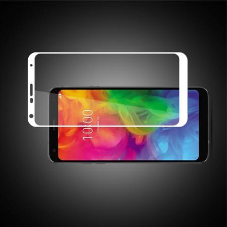 Полноэкранное Закаленное Олеофобное DF Full Screen Защитное Стекло Белое для LG Q7 / Q7+ / Q7a