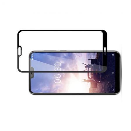 Полноэкранное Закаленное Олеофобное DF Full Screen Защитное Стекло Черное для Nokia 6.1 Plus