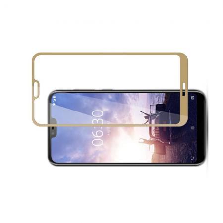 Полноэкранное Закаленное Олеофобное DF Full Screen Защитное Стекло Золотое для Nokia 6.1 Plus