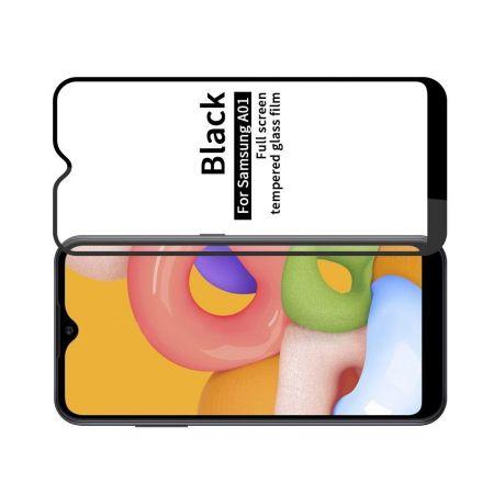 Полноэкранное Закаленное Олеофобное DF Full Screen Защитное Стекло Черное для Samsung Galaxy A01