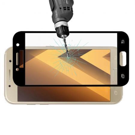 Полноэкранное Закаленное Олеофобное DF Full Screen Защитное Стекло Черное для Samsung Galaxy A3 2017 SM-A320F