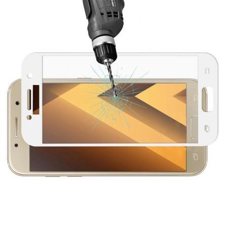 Полноэкранное Закаленное Олеофобное DF Full Screen Защитное Стекло Белое для Samsung Galaxy A3 2017 SM-A320F