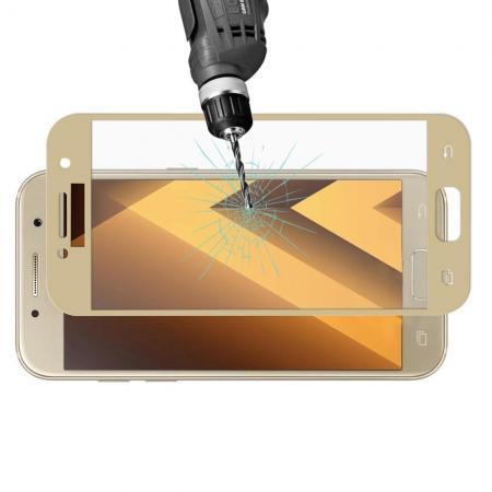 Полноэкранное Закаленное Олеофобное DF Full Screen Защитное Стекло Золотое для Samsung Galaxy A3 2017 SM-A320F