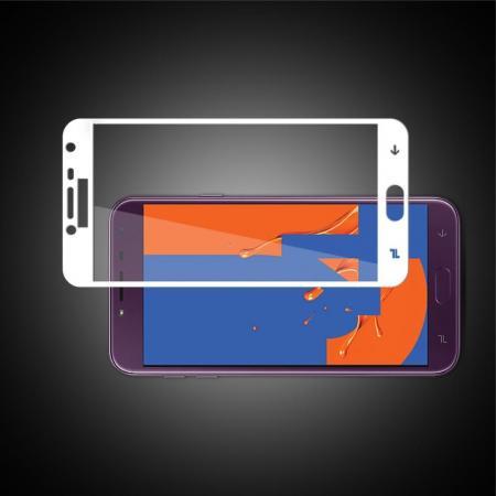Полноэкранное Закаленное Олеофобное DF Full Screen Защитное Стекло Белое для Samsung Galaxy J4 2018 SM-J400