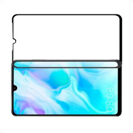 Полноклеевое Full Glue Cover DF Черное Защитное Стекло на Экран Huawei P30 Lite