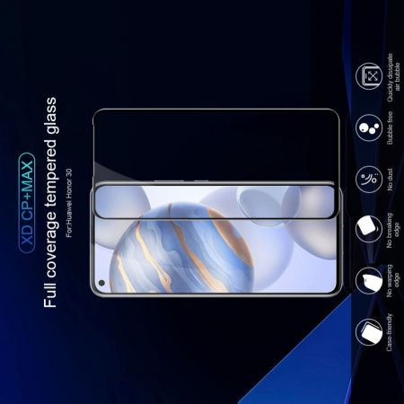 Полноразмерное Изогнутое Закаленное NILLKIN CP+ Черное Стекло для Huawei Honor 30