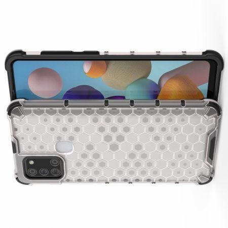 Противоударный прозрачный кейс с силиконовым бампером для Samsung Galaxy A21s Белый