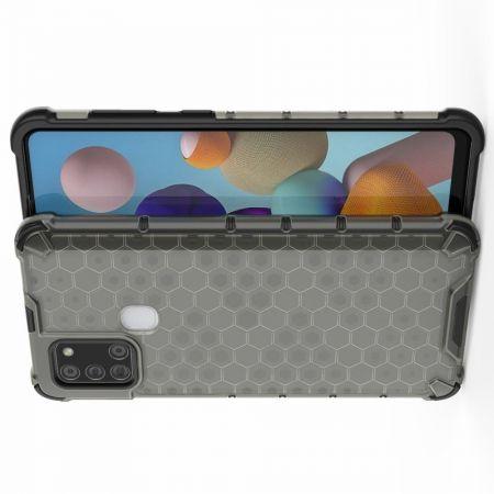 Противоударный прозрачный кейс с силиконовым бампером для Samsung Galaxy A21s Черный