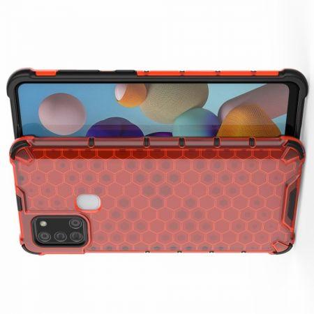 Противоударный прозрачный кейс с силиконовым бампером для Samsung Galaxy A21s Красный