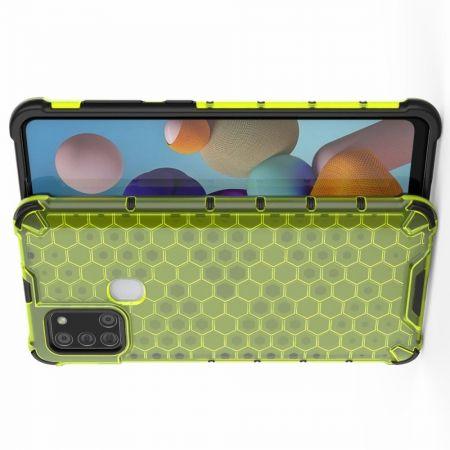 Противоударный прозрачный кейс с силиконовым бампером для Samsung Galaxy A21s Зеленый