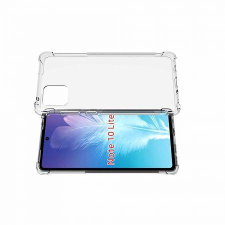 Противоударный прозрачный кейс с силиконовым бампером для Samsung Galaxy Note 10 Lite Прозрачный