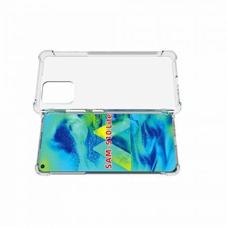 Противоударный прозрачный кейс с силиконовым бампером для Samsung Galaxy S10 Lite Прозрачный