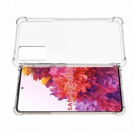 Противоударный прозрачный кейс с силиконовым бампером для Samsung Galaxy S20 FE Прозрачный