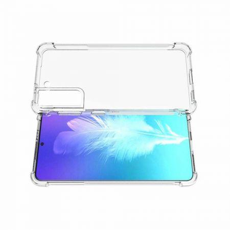 Противоударный прозрачный кейс с силиконовым бампером для Samsung Galaxy S21 Прозрачный