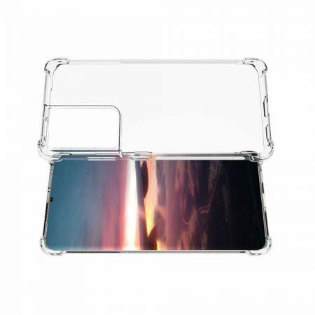 Противоударный прозрачный кейс с силиконовым бампером для Samsung Galaxy S21 Ultra Прозрачный