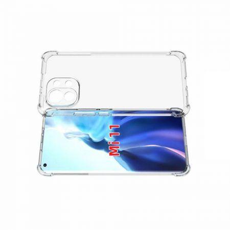 Противоударный прозрачный кейс с силиконовым бампером для Xiaomi Mi 11 Прозрачный