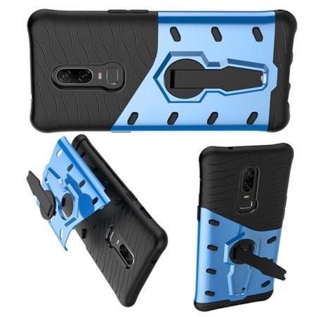 Противоударный силиконовый двухкомпонентный чехол с пластиковой крышкой и с встроенной поворотной ножкой подставкой и усиленными углами OnePlus 6 Голубой