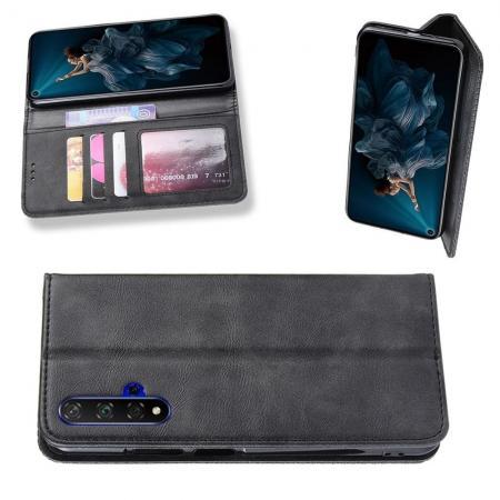 PU Кожаный Чехол Автоматическое Закрывание Подставка и Кошелёк для Huawei Honor 20 Черный