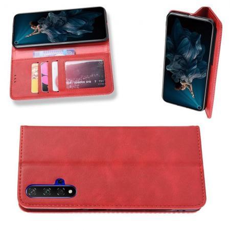 PU Кожаный Чехол Автоматическое Закрывание Подставка и Кошелёк для Huawei Honor 20 Красный